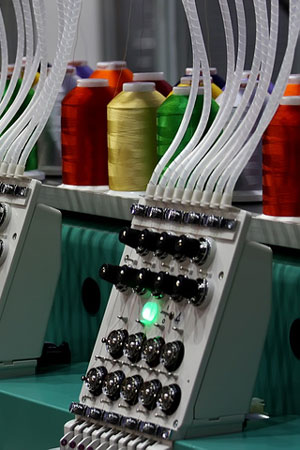 embroidery machine controls and yarn
